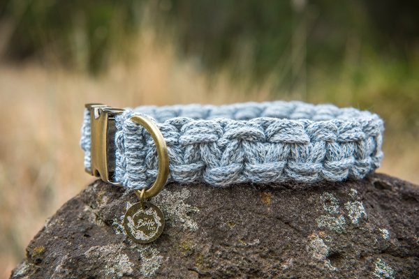 Blue macrame dog collars