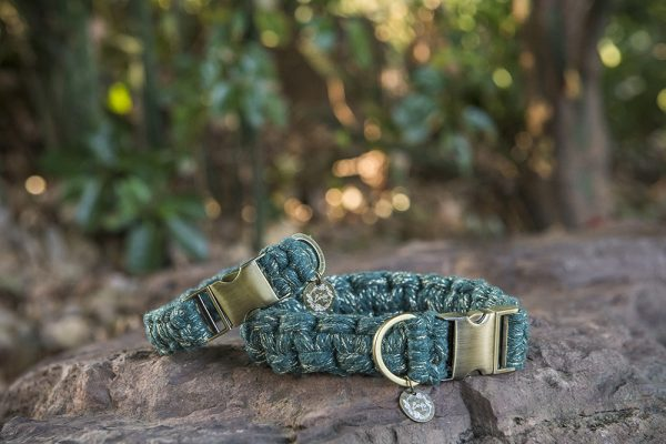 Emerald shine macrame dog collars