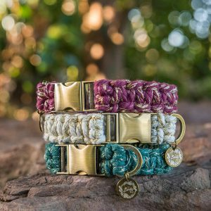 Macrame dog collars metallic range