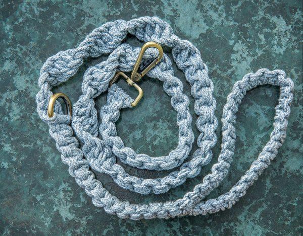 Blue macrame dog lead