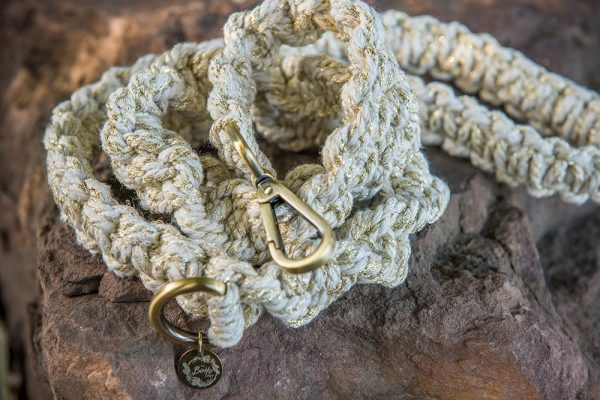 Golden Sands macrame dog lead