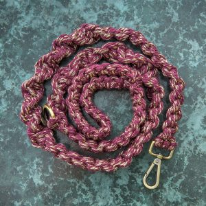 Mulberry shine macrame dog lead