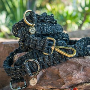 Midnight Shine macrame dog lead