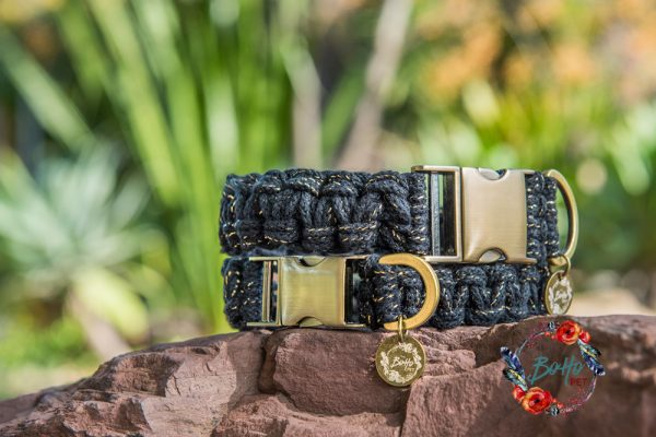 Midnight shine macrame dog collar