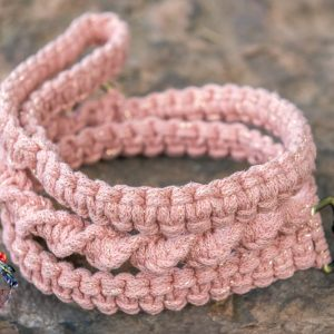golden blush macrame dog lead