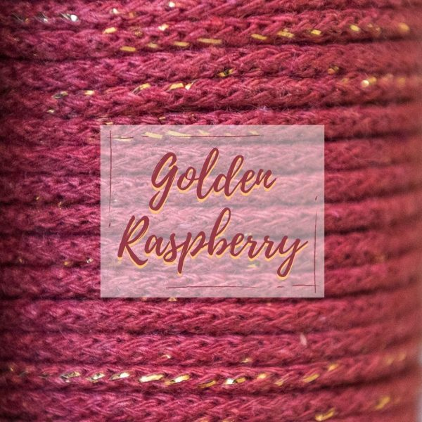 Golden raspberry metallic thread
