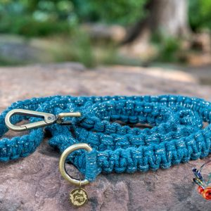 Teal metallic macrame dog lead