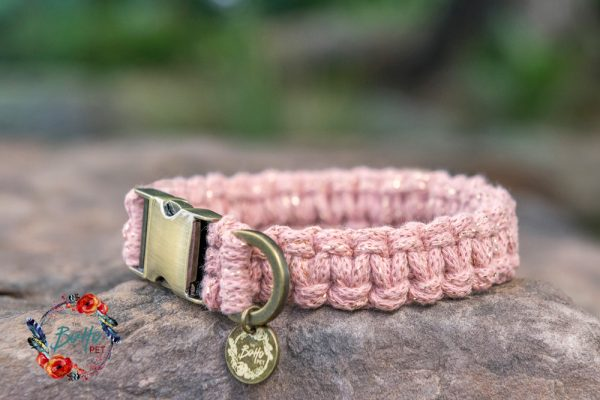 Golden Blush Macramé dog collar
