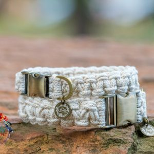 white gold macrame dog collar