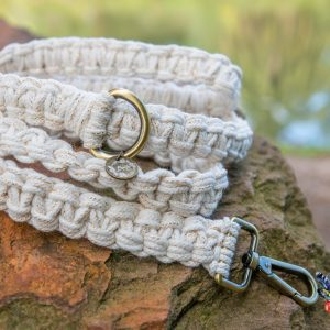 white gold macrame dog lead