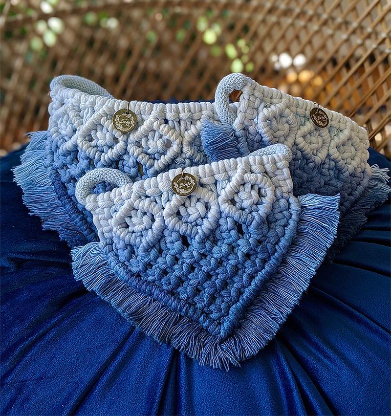 blue ombre macrame bandana