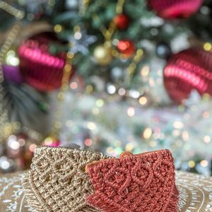 metallic christmas macrame dog bandanas