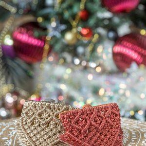 metallic christmas macrame dog bandanas